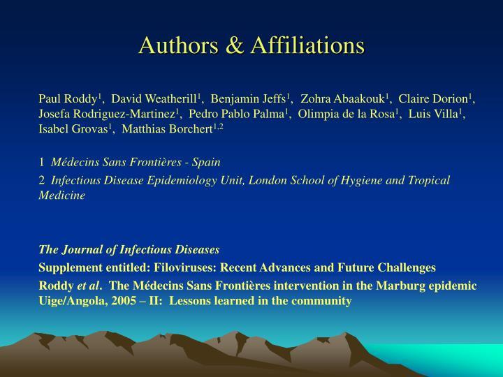 Authors & Affiliations