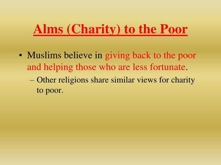 Alms (Charity) to the Poor