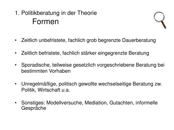 1. Politikberatung in der Theorie