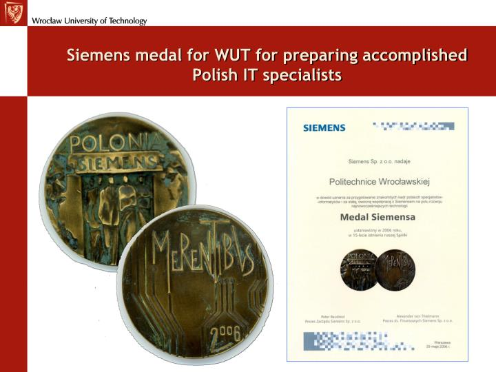 Siemens medal for WUT for preparing accomplished Polish IT specialists