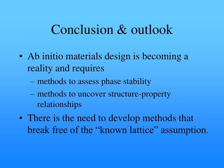 Conclusion & outlook