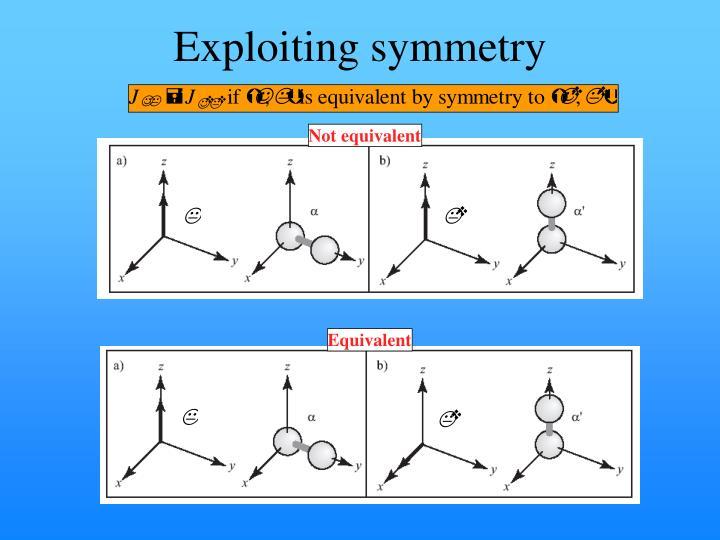 Exploiting symmetry