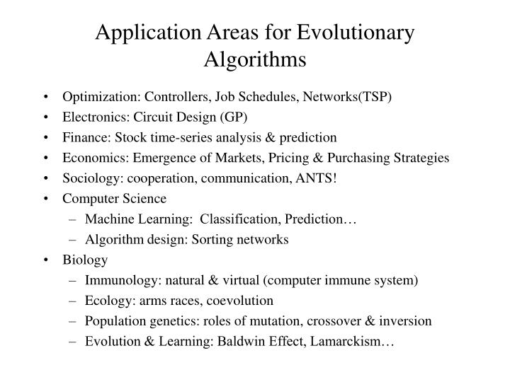 Application Areas for Evolutionary Algorithms