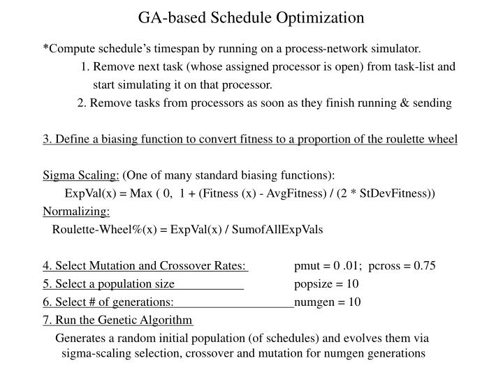 GA-based Schedule Optimization