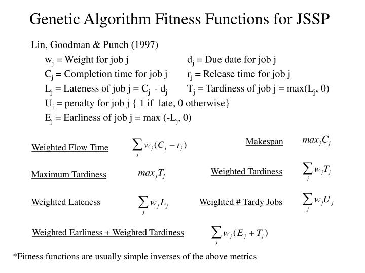 Genetic Algorithm Fitness Functions for JSSP