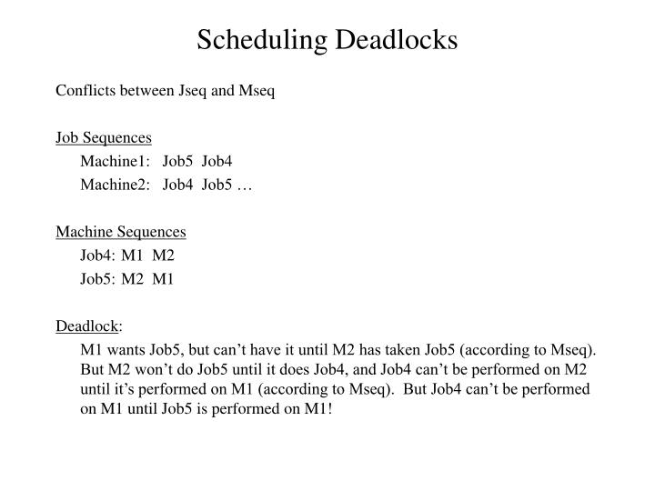 Scheduling Deadlocks