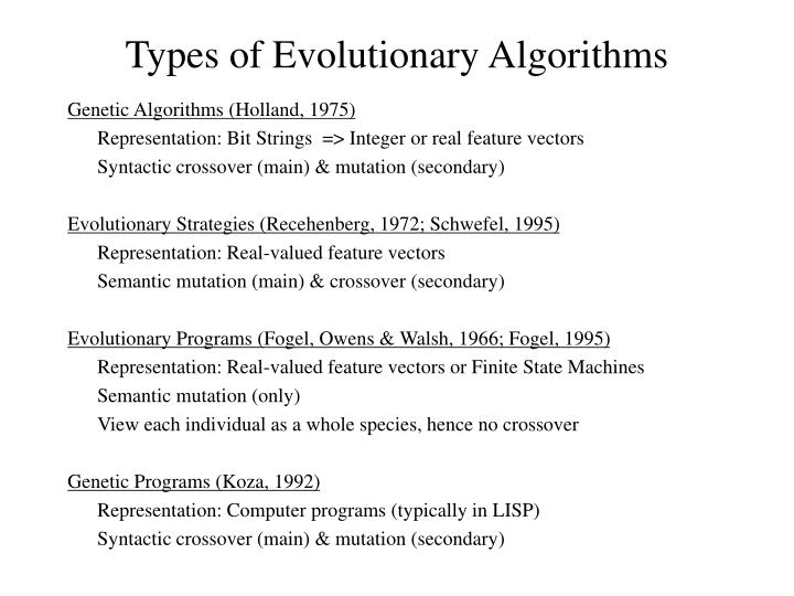Types of Evolutionary Algorithms