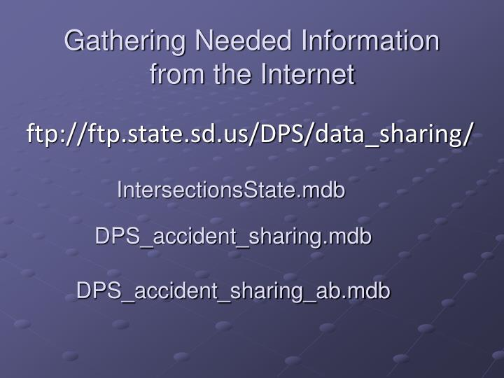 Gathering Needed Information from the Internet
