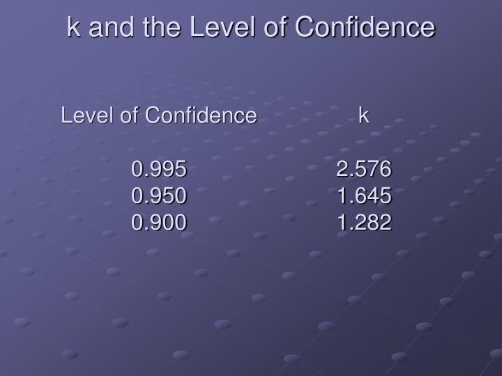 k and the Level of Confidence