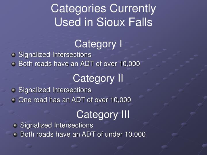 Categories Currently Used in Sioux Falls