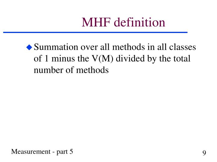 MHF definition
