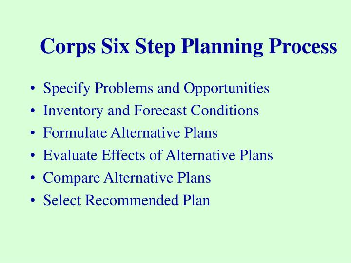Corps Six Step Planning Process