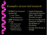 examples of user led research