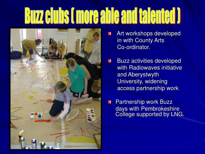 Buzz clubs ( more able and talented )