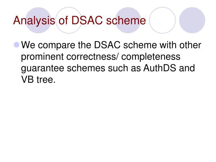 Analysis of DSAC scheme