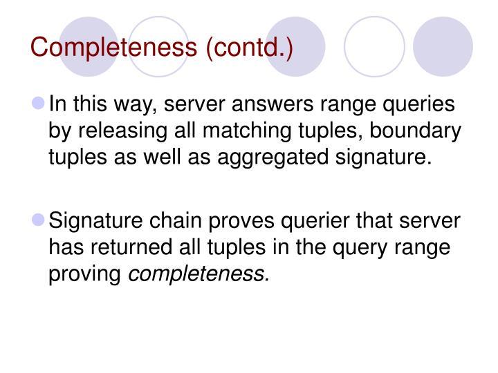 Completeness (contd.)
