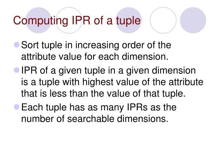 Computing IPR of a tuple