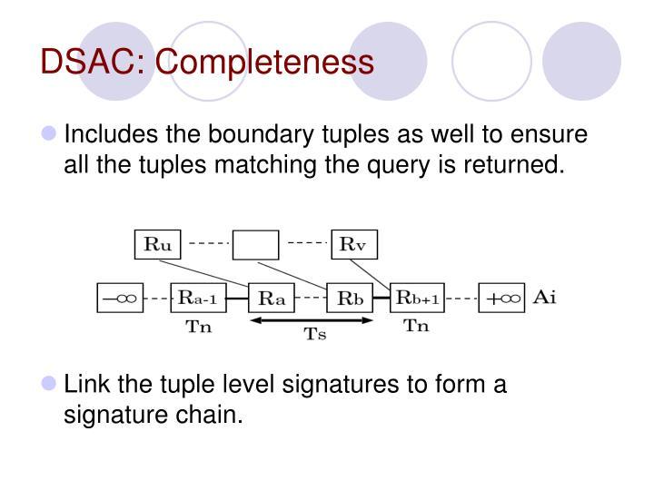 DSAC: Completeness