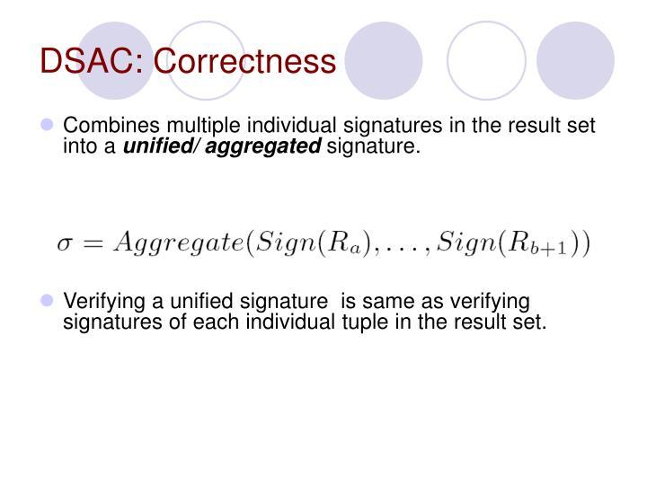 DSAC: Correctness