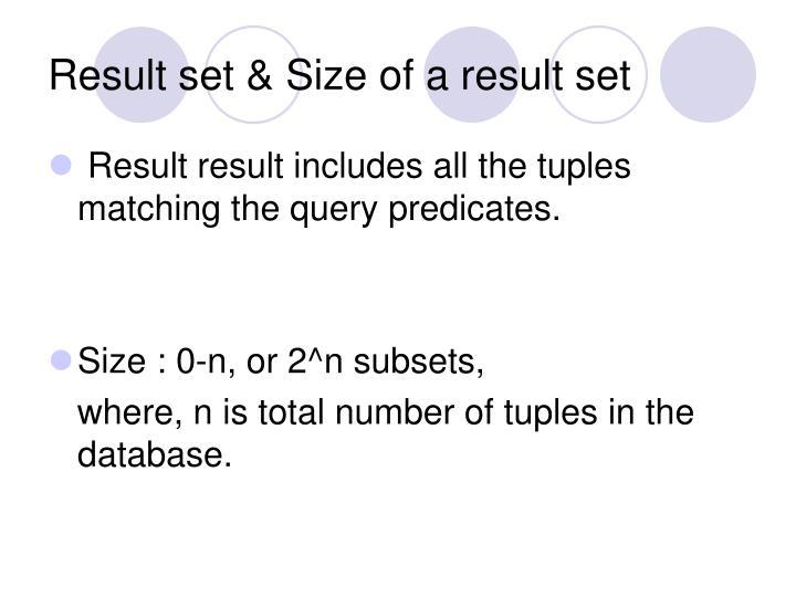 Result set & Size of a result set
