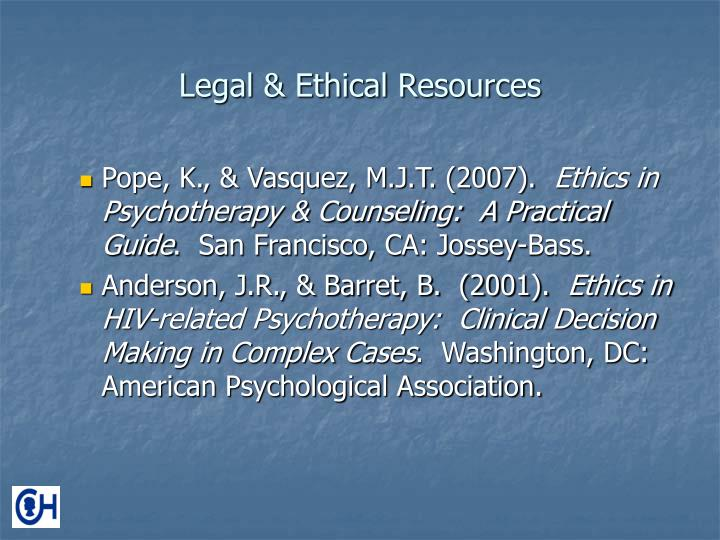 Legal & Ethical Resources