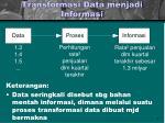 transformasi data menjadi informasi