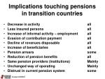 implications touching pensions in transition countries