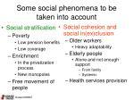 some social phenomena to be taken into account