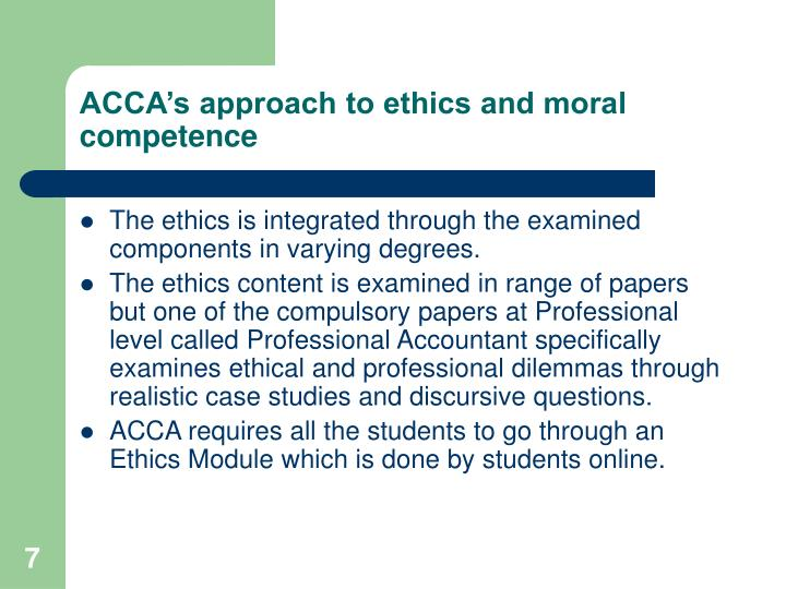 ACCA's approach to ethics and moral competence