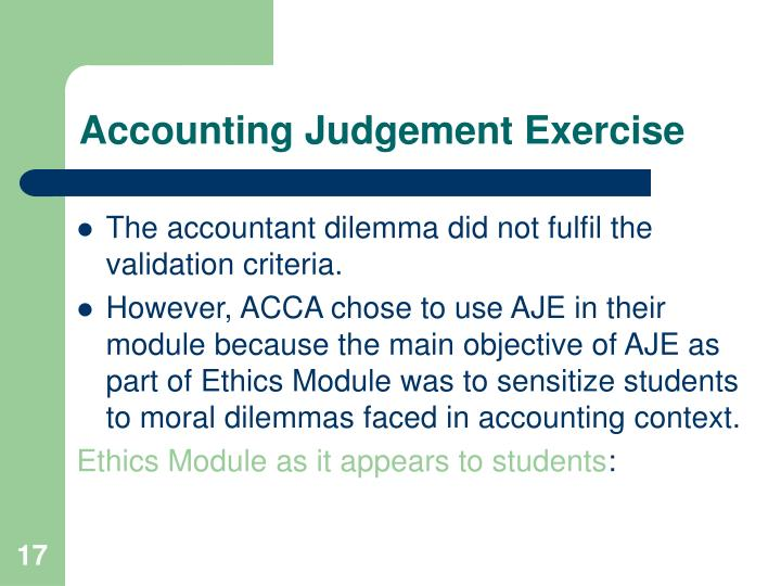 Accounting Judgement Exercise