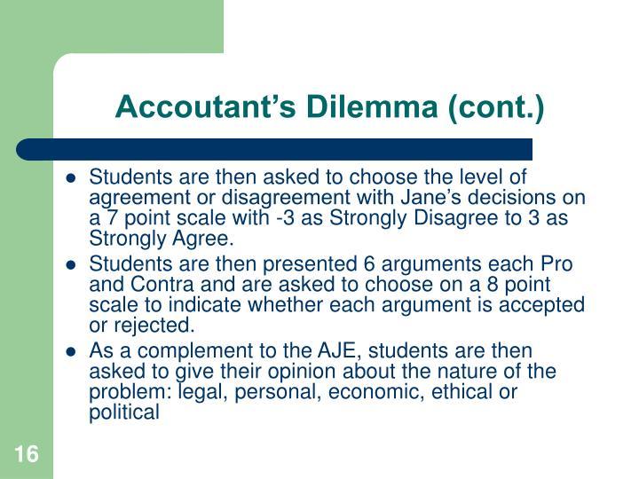 Accoutant's Dilemma (cont.)