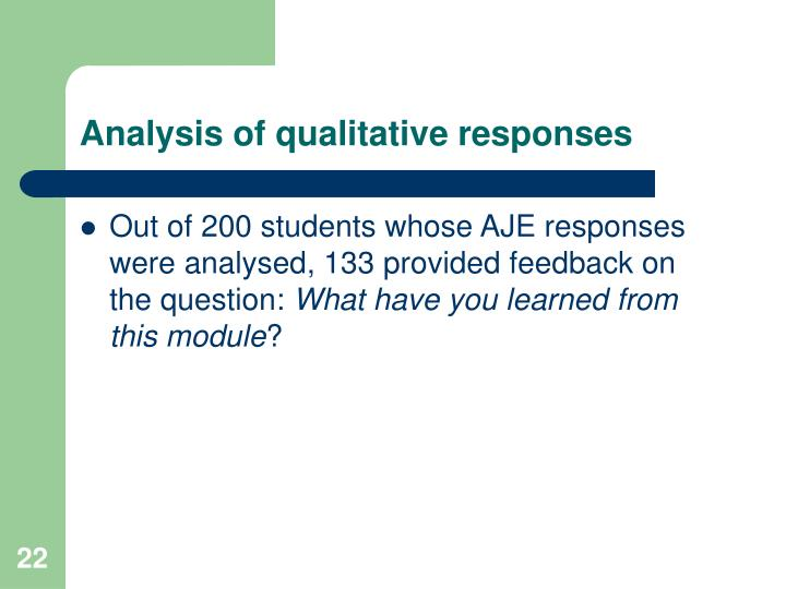 Analysis of qualitative responses