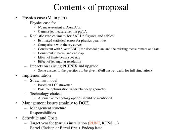 Contents of proposal