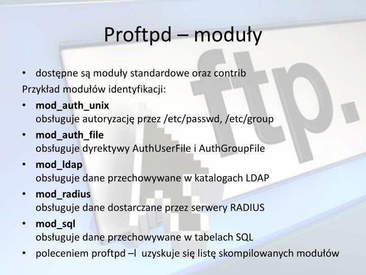 Proftpd – moduły