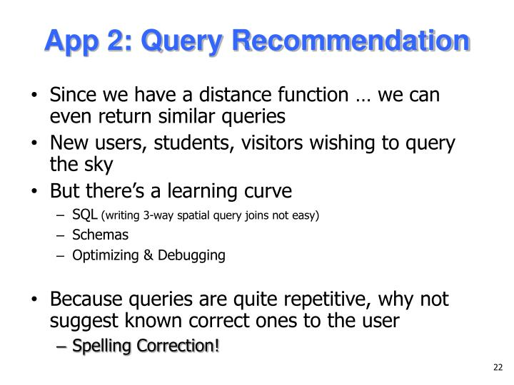 App 2: Query Recommendation