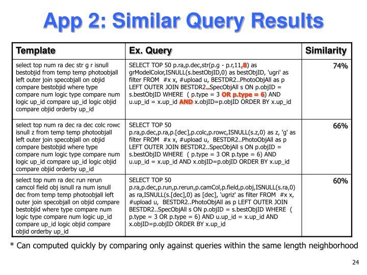 App 2: Similar Query Results