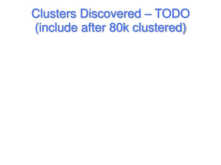Clusters Discovered – TODO (include after 80k clustered)