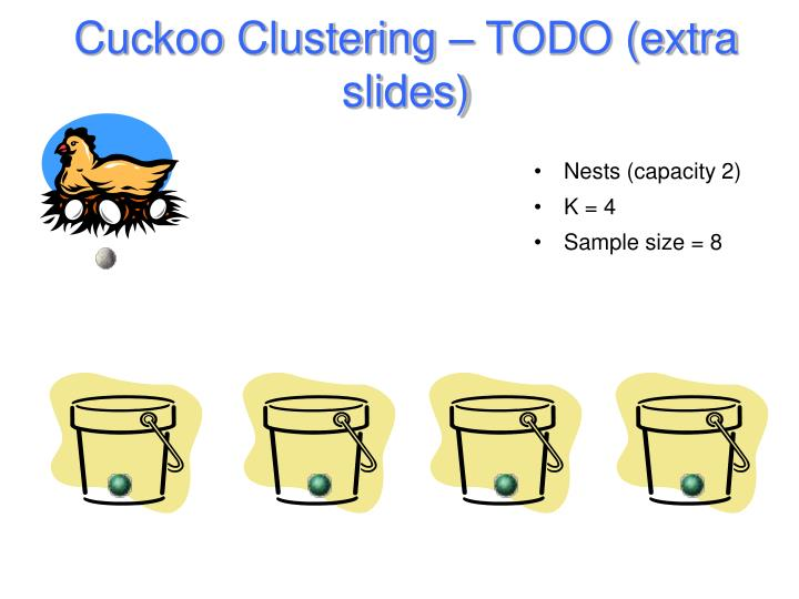 Cuckoo Clustering – TODO (extra slides)