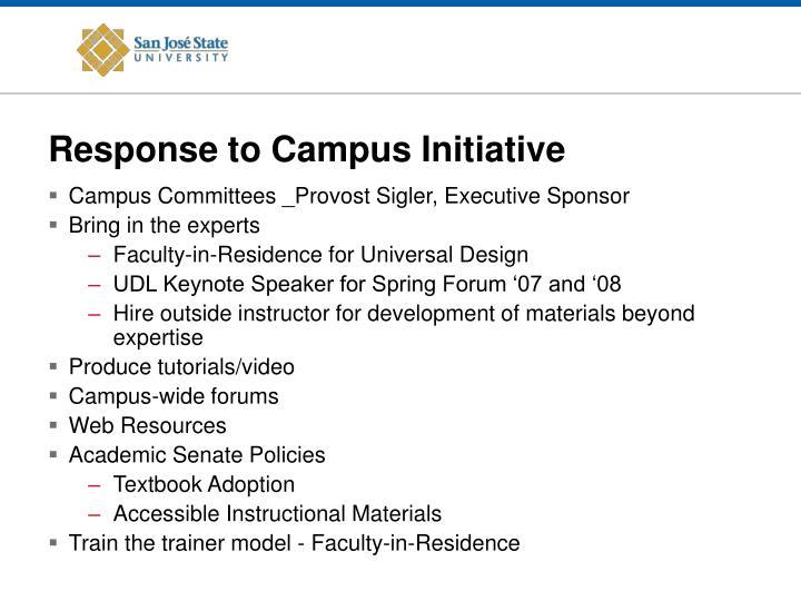 Response to Campus Initiative