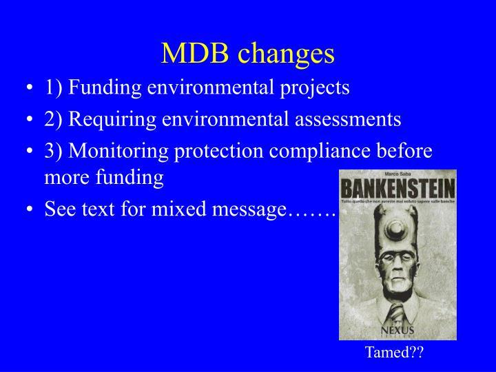 MDB changes