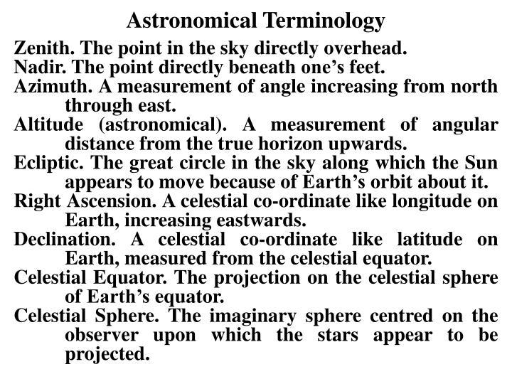 Astronomical Terminology