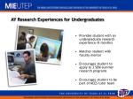 ay research experiences for undergraduates