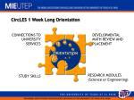 circles 1 week long orientation