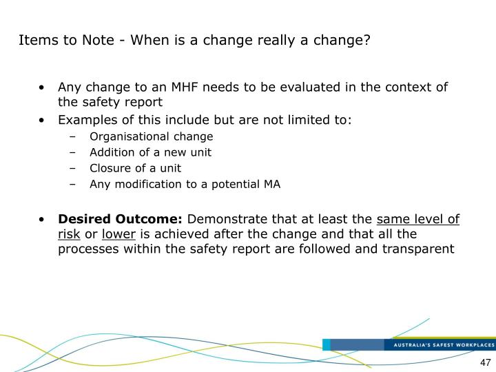 Items to Note - When is a change really a change?