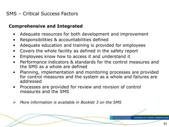 SMS – Critical Success Factors