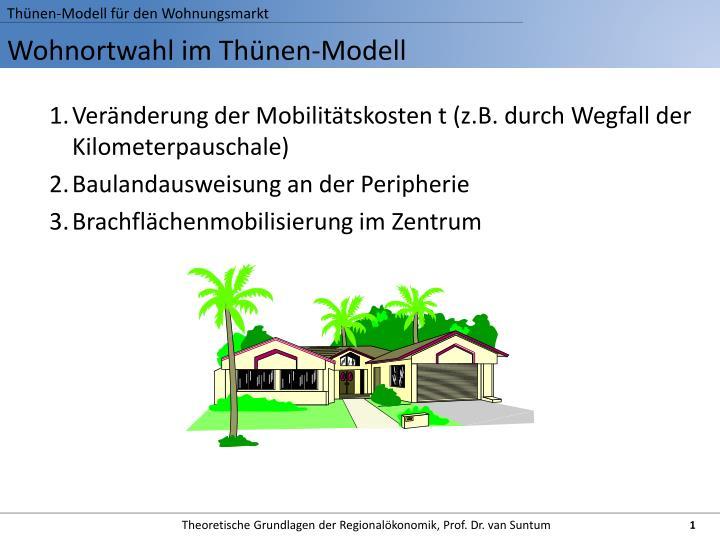 Thünen-Modell für den Wohnungsmarkt