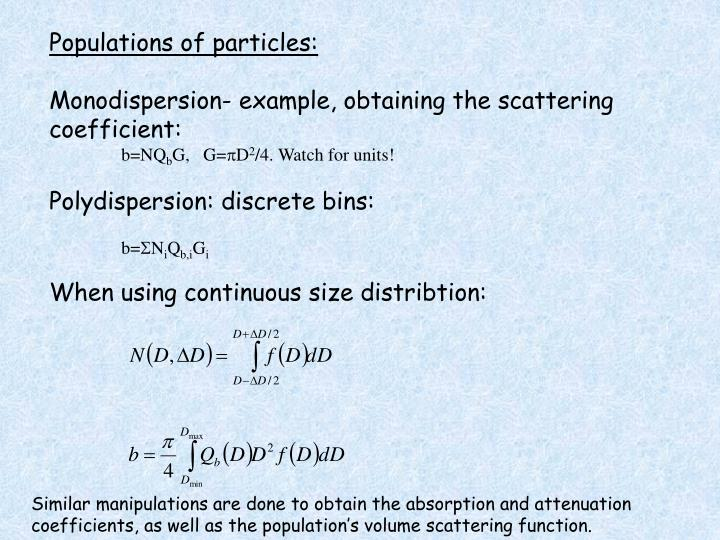 Populations of particles:
