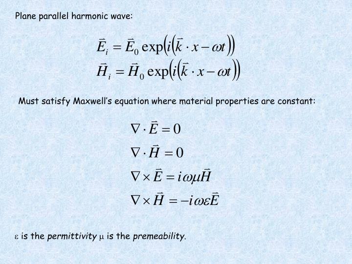 Plane parallel harmonic wave: