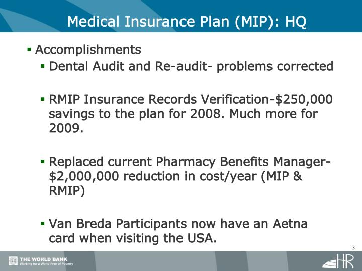 Medical Insurance Plan (MIP): HQ