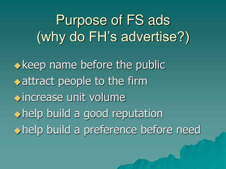 Purpose of FS ads
